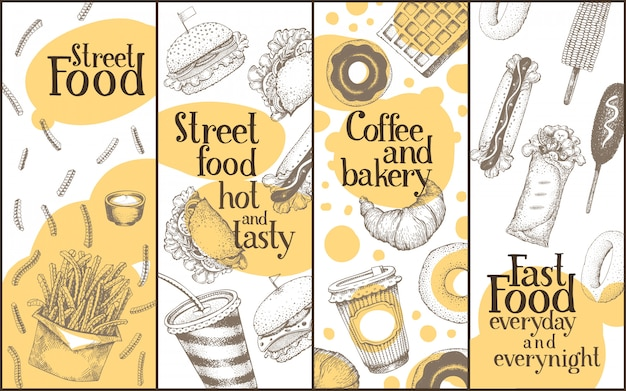 Conjunto de bandeiras de vetor de comida de rua.