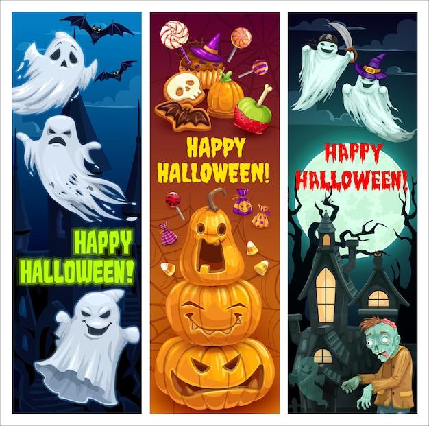Conjunto de bandeiras de vetor de desenhos animados para festa de halloween feliz