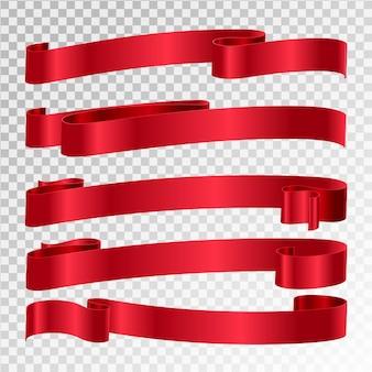 Conjunto de bandeiras de vetor de fita vermelha brilhante