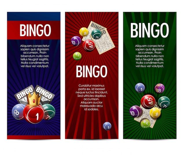 Conjunto de bandeiras de vetor de jogo de loteria de bingo loteria