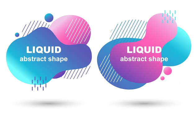 Conjunto de bandeiras de vetor gradiente na moda fluxo líquido