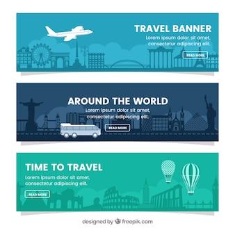 Conjunto de bandeiras de viagem em design plano