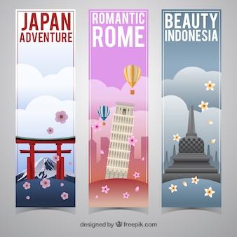 Conjunto de bandeiras de viagem em diferentes países