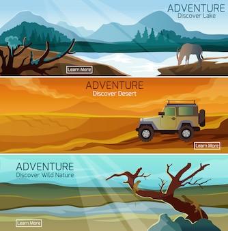 Conjunto de bandeiras de viagens de natureza paisagens planas