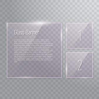 Conjunto de bandeiras de vidro quadrado transparente refletindo