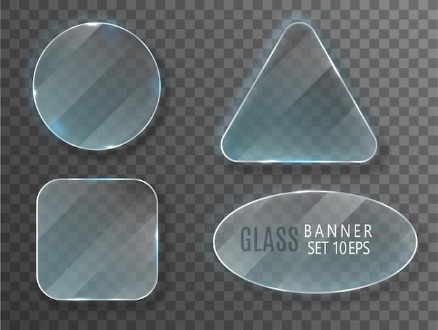 Conjunto de bandeiras de vidro.