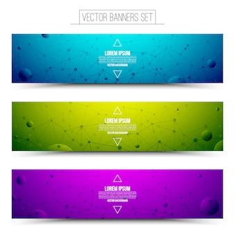Conjunto de bandeiras de web colorido de vetor de tecnologia