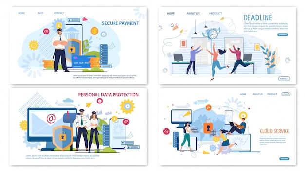 Conjunto de bandeiras de web plana de tecnologias de negócios