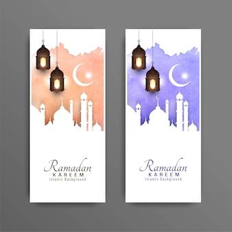 Conjunto de bandeiras decorativas ramadan kareem abstrata