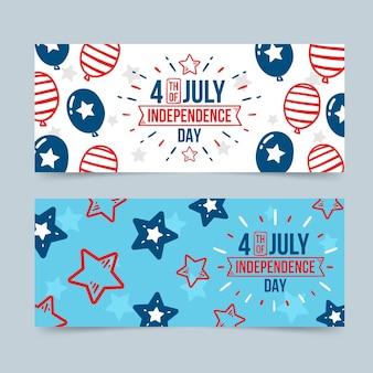 Conjunto de bandeiras desenhadas à mão para o dia da independência de 4 de julho