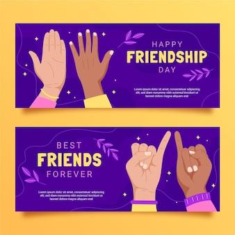 Conjunto de bandeiras do dia da amizade internacional desenhada à mão