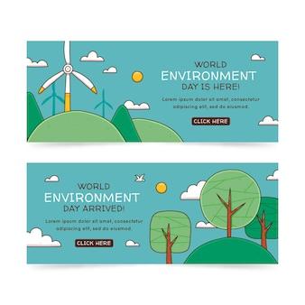Conjunto de bandeiras do dia do meio ambiente desenhado à mão