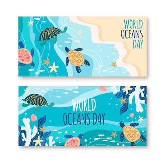 Conjunto de bandeiras do dia dos oceanos desenhados à mão