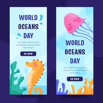Conjunto de bandeiras do dia dos oceanos do mundo plano