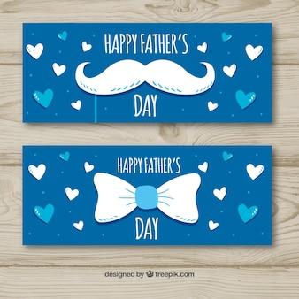 Conjunto de bandeiras do dia dos pais com bigode e gravata borboleta