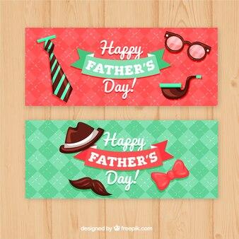 Conjunto de bandeiras do dia dos pais com elementos de roupas em estilo simples