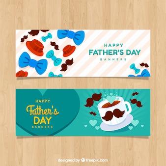 Conjunto de bandeiras do dia dos pais com laços