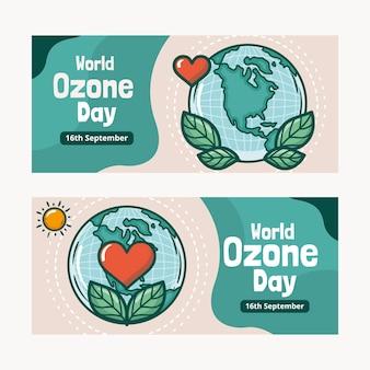 Conjunto de bandeiras do dia mundial do ozônio desenhadas à mão
