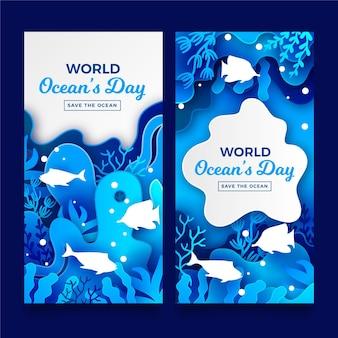 Conjunto de bandeiras do dia mundial dos oceanos em estilo de jornal