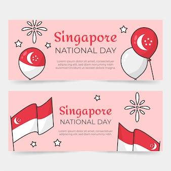 Conjunto de bandeiras do dia nacional de singapura desenhada à mão