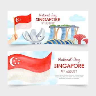 Conjunto de bandeiras do dia nacional de singapura pintadas à mão em aquarela