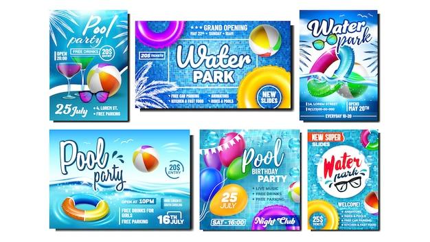 Conjunto de bandeiras do parque aquático e festa na piscina