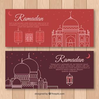 Conjunto de bandeiras do ramadã com mesquitas em monolines