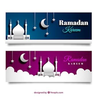 Conjunto de bandeiras do ramadã com mesquitas em textura de papel
