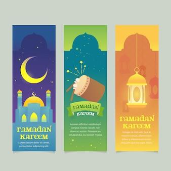 Conjunto de bandeiras do ramadã design plano