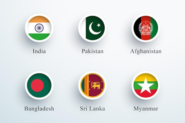Conjunto de bandeiras do sul da ásia com ícones redondos de botão 3d