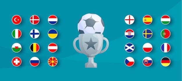 Conjunto de bandeiras do torneio de futebol europeu 2020.