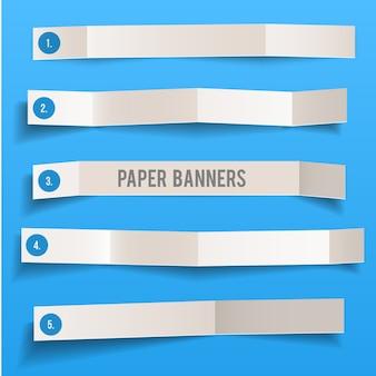 Conjunto de bandeiras dobradas de vetor de papel em branco branco