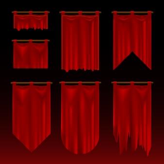 Conjunto de bandeiras dobradas vermelhas e rasgadas medievais. estilo de jogo realista.