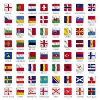 Conjunto de bandeiras dos países da europa com estilo de forma quadrada de ondulação