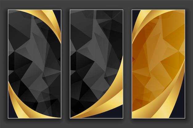 Conjunto de bandeiras douradas e pretas geométricas de luxo
