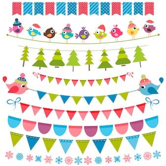 Conjunto de bandeiras e guirlandas coloridas de natal