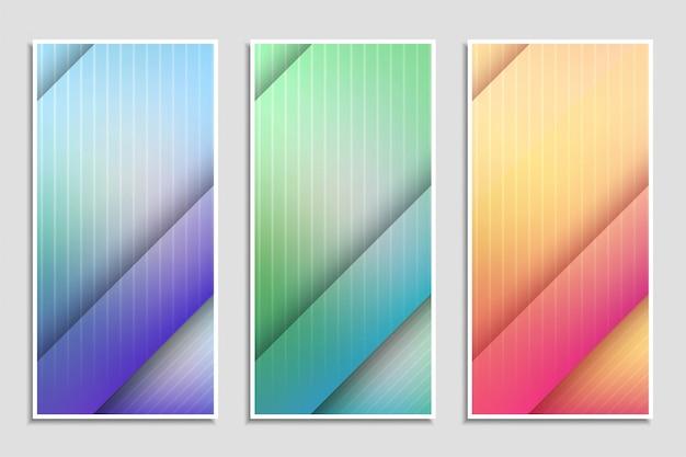 Conjunto de bandeiras elegantes coloridas abstratas