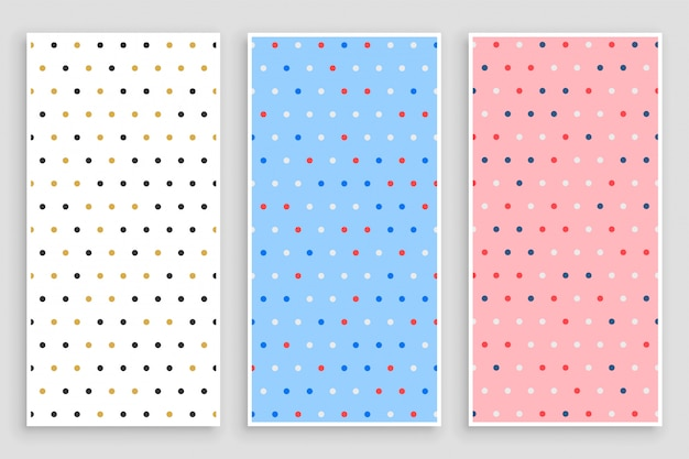 Conjunto de bandeiras elegantes padrão pequeno círculo polka