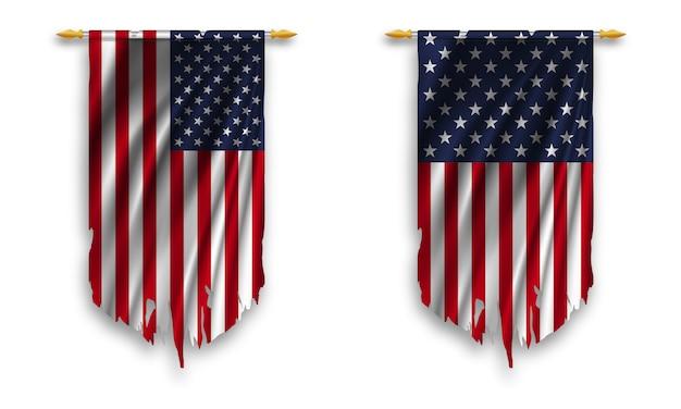 Conjunto de bandeiras flâmulas dos eua rasgadas em fundo branco.