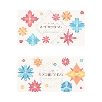 Conjunto de bandeiras florais para o dia das mães