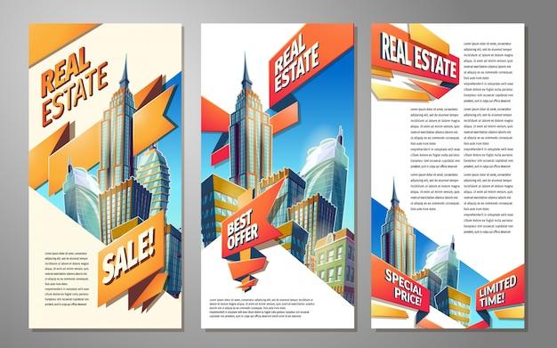 Conjunto de bandeiras, fundos urbanos com paisagem urbana