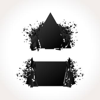 Conjunto de bandeiras geométricas escuras de explosão