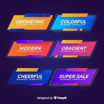 Conjunto de bandeiras gradiente e moderno