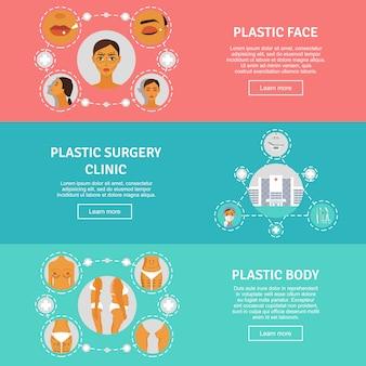Conjunto de bandeiras horizontais de conceito de cirurgia plástica