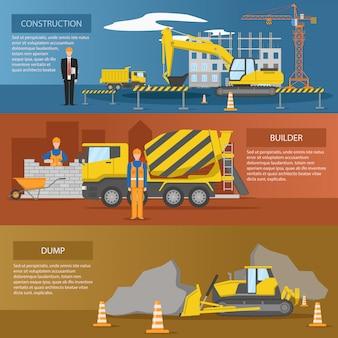 Conjunto de bandeiras horizontais de construção com processo de criação de instalações de despejo de construtores isolado