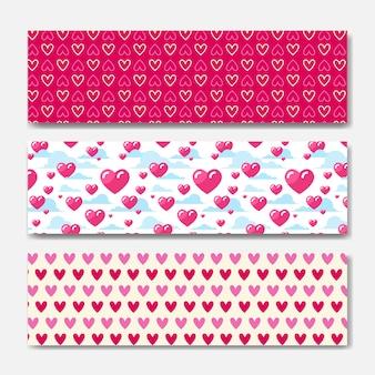 Conjunto de bandeiras horizontais de corações rosa decoração para dia dos namorados feriado cartaz ou web fundo design