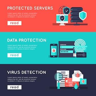 Conjunto de bandeiras horizontais de proteção de dados