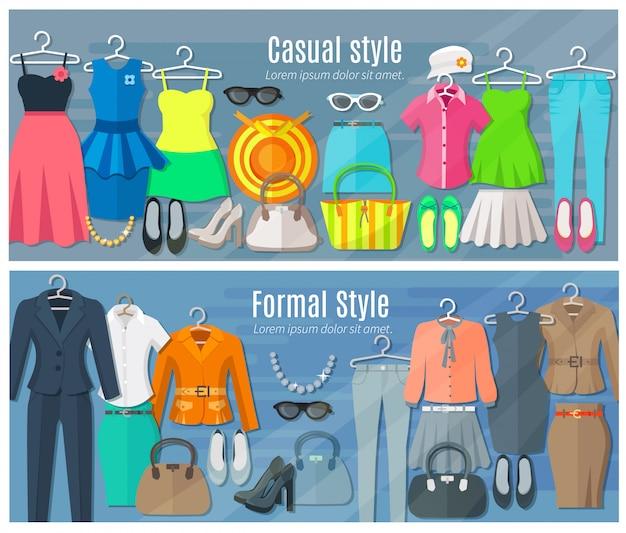 Conjunto de bandeiras horizontais de roupas de mulher da coleção em estilos de moda formal e casual