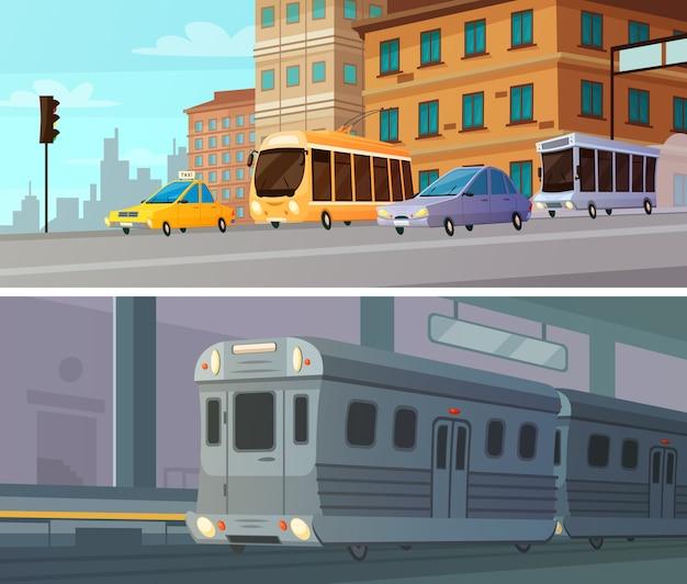 Conjunto de bandeiras horizontais de transporte cidade dos desenhos animados da estação de metrô com trem