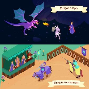 Conjunto de bandeiras horizontais isométricas medievais batalha com dragão e torneio de cavaleiros isolados